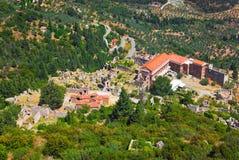 gammala greece mystras fördärvar townen Arkivfoton