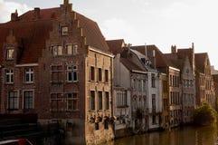 Gammala hus i Ghent Arkivfoton