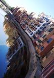 Gammala hus i Girona Royaltyfria Bilder