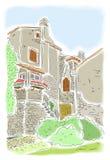 Gammala hus i Porec, Kroatien Royaltyfri Bild
