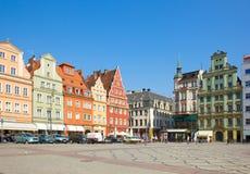 Gammala hus kvadrerar på Solny i wroclawen Arkivfoton