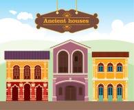 Gammala hus på europégatan stock illustrationer