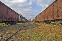 gammala järnväg vagnar Royaltyfria Foton