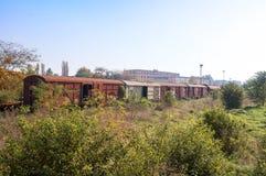 gammala järnväg vagnar Royaltyfri Fotografi