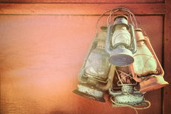 gammala kerosenelyktor Royaltyfria Bilder