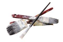 Gammala målarfärgborstar Royaltyfria Foton