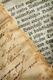 gammala manuskript Arkivbilder