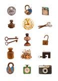 Gammala objekt och blandad grupp för hjälpmedel på white Royaltyfria Foton