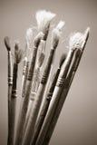 gammala paintbrushes Royaltyfri Fotografi