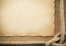 gammala paper rep sänder trä Arkivfoto