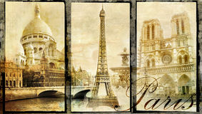 gammala paris stock illustrationer