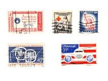 gammala portostämplar för collectibles oss Royaltyfri Fotografi