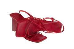 gammala röda skor royaltyfria bilder