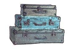 gammala resväskor Royaltyfria Foton