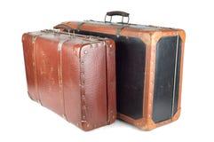 gammala resväskor två Arkivfoto
