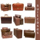 gammala resväskor för collagehög Royaltyfria Foton