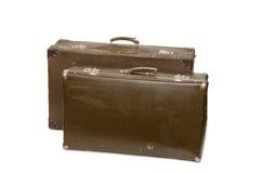 gammala resväskor två Arkivfoton