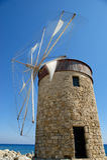 Gammala Rhodes windmills, Grekland Royaltyfria Bilder