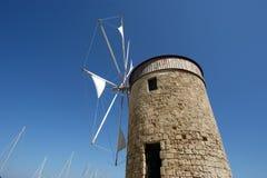 Gammala Rhodes windmills, Grekland Arkivfoto
