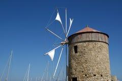 Gammala Rhodes windmills, Grekland Arkivbild