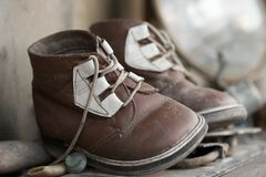 gammala s skor för chid Royaltyfri Foto