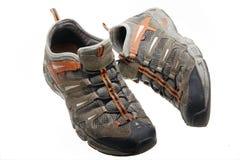 gammala skor för idrottshall Arkivfoton