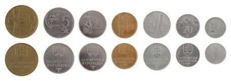 Gammala slovakiska mynt som isoleras på White Fotografering för Bildbyråer