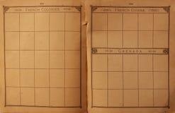 gammala stämplar för bok arkivfoto