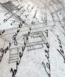 Gammala teckningar av en arkitekt Arkivbilder