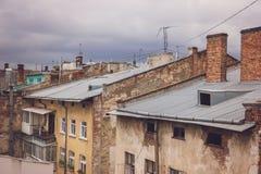 gammala tegelstenbyggnader Arkivfoto