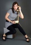 gammala telefonkvinnor Fotografering för Bildbyråer