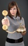 gammala telefonkvinnor Royaltyfria Bilder