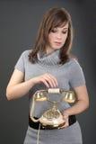 gammala telefonkvinnor Royaltyfria Foton