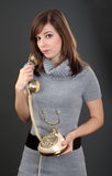 gammala telefonkvinnor Royaltyfri Bild