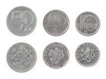 Gammala tjeckiska mynt som isoleras på White Arkivfoto