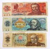 gammala tjeckiska pengar Arkivbilder