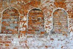 gammala väggar för tegelsten Fotografering för Bildbyråer