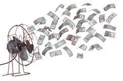 Gammala ventilator- och dollarsedlar Royaltyfria Bilder