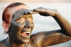 gammalare dräktkvinna för badning royaltyfria bilder