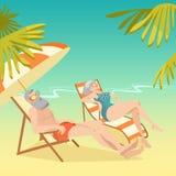 gammalare koppla av för strandpar Arkivfoton