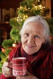 gammalare teakvinna för kopp arkivbild