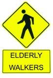 gammalare teckenfotgängare för varning Royaltyfri Bild
