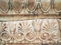 Gammalgrekiska Bas Relief Marble Sculpture, Delphi Archeological Museum, Grekland royaltyfri foto