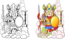 Gammalgrekiskagudinna Athena, rolig illustration, färgläggningbok stock illustrationer