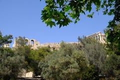 Gammalgrekiskaparthenonen, akropol, Aten, Grekland Arkivbild