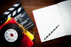 Gammalmodigt filmförfattareskrivbord Arkivfoton