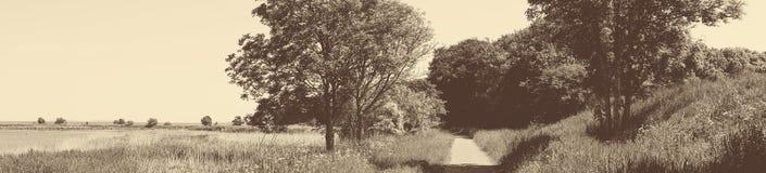 Gammalmodigt panoramalandskap med en slinga Arkivfoto