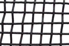 Gammalt åldrigt ridit ut Rusty Grid Cage Fence Iron galler, isolerad Grungy horisontalstor detaljerad makroCloseup, Grungerostmet Arkivfoton