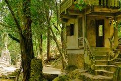 Gammalt övergett hus bland djungeln Arkivfoton