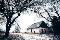 Gammalt övergett hus i vintertid lithuania Royaltyfri Bild